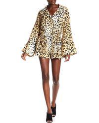 Kendall + Kylie - Leopard Print Bell Sleeve Pajama Romper - Lyst