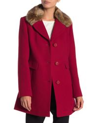 Kate Spade - Wool Blend Detachable Faux Fur Collared Jacket - Lyst
