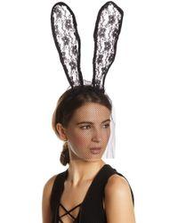 Noir Jewelry - Front Veil Lace Bunny Ear Headband - Lyst