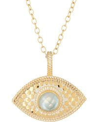 Anna Beck - 18k Gold Plated Sterling Silver Aquamarine Third Eye Necklace - Lyst