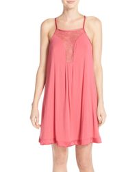 Midnight By Carole Hochman - Lace Inset Jersey Chemise - Lyst