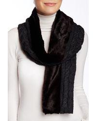 Ivanka Trump - Faux Fur Trim Cable Knit Muffler - Lyst