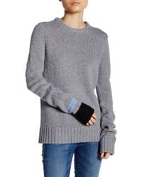 FREE CITY - Cable Knit Crew Neck Sweater - Lyst