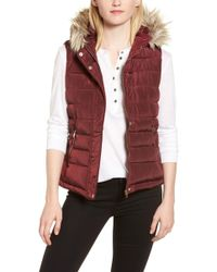 Dorothy Perkins - Faux Fur Trim Hooded Puffer Vest - Lyst