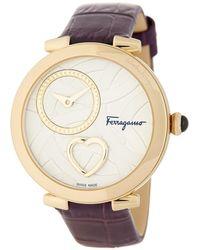 Ferragamo - Women's Cuore Croc Embossed Leather Watch, 39mm - Lyst