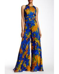 Carmen Marc Valvo - Silk Floral Organza Jumpsuit - Lyst