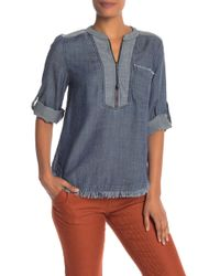 Trina Turk - Kaiko Chambray Zip Front Shirt - Lyst