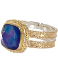 Anna Beck - 18k Gold Plated Sterling Silver Cushion Cut Lapis Double Band Ring - Lyst