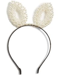 Berry - Faux Pearl Bunny Headband - Lyst