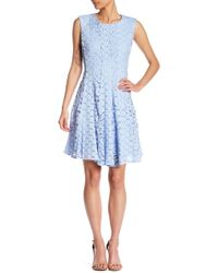 Chetta B - Floral Lace Fit & Flare Dress - Lyst