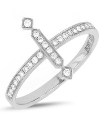 Bony Levy - 18k White Gold Pave Diamond Vertical Bar Ring - Size 7 - Lyst