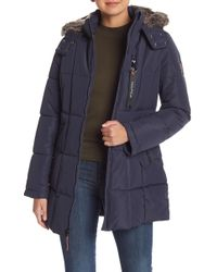 Nautica - Faux Fur Trimmed Down Jacket - Lyst