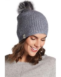 UGG - Ugg(r) Metallic Crochet & Genuine Shearling Pom Beanie - Lyst