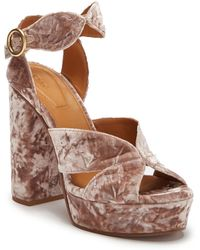 5f8a2ffb17 Lyst - Missguided Crushed Velvet Block Heeled Sandals Pink in Pink