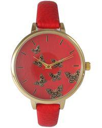 Olivia Pratt - Women's Butterfly Dial Leather Watch - Lyst