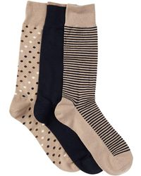 Cole Haan - Dots & Stripes Crew Socks - Pack Of 3 - Lyst