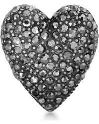 Steve Madden - Pave Rhinestone Heart Ring - Lyst