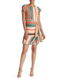 Eci - Striped Ruffle Cap Sleeve Mock Wrap Dress - Lyst