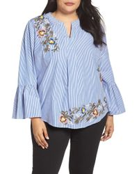 Caslon - Embroidered Bell Sleeve Top (plus Size) - Lyst