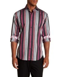 Thomas Dean - Striped Long Sleeve Sport Fit Shirt - Lyst