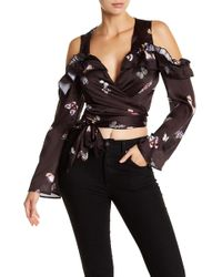 ARRIVE - Cold Shoulder Satin Ruffle Top - Lyst