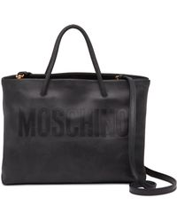 Moschino - Mini Leather Embossed Logo Tote - Lyst