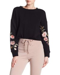 Love, Fire - Floral Embroidered Cropped Crew Neck Sweatshirt - Lyst