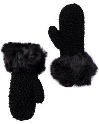 Surell - Starfish Knit Faux Fur Cuff Mittens - Lyst