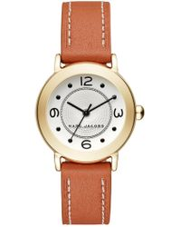 Marc Jacobs - Women's Riley Gold-tone And Tan Leather Three-hand Watch, 28mm - Lyst