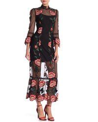 ABS By Allen Schwartz - Tatum Embroidered 3/4 Sleeve Maxi Dress - Lyst