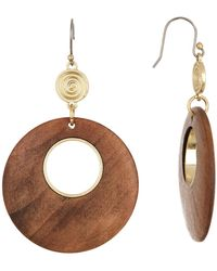 Lucky Brand - Wood Circle Drop Earrings - Lyst