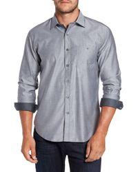 Bugatchi - Trim Fit Heathered Sport Shirt - Lyst