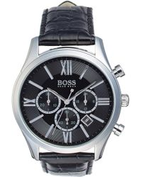 BOSS - 'ambassador' Chronograph Leather Strap Watch, 44mm - Lyst