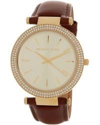 MICHAEL Michael Kors - Women's Darcy Crystal Embellished Leather Strap Watch, 38mm - Lyst
