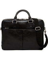 Perry Ellis - Zip Top Leather Briefcase - Lyst