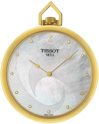 Tissot - Mother Of Pearl Diamond Pocket Watch, 41mm - 0.065 Ctw - Lyst