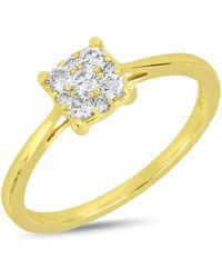 Bony Levy - 18k Yellow Gold Pave Diamond Square Accent Ring - Lyst