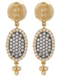 Freida Rothman - 14k Gold & Rhodium Plated Sterling Silver Cz Pave Oval Drop Earrings - Lyst
