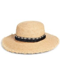 Caslon - Fringe Trim Straw Boater Hat - Lyst