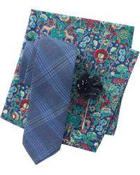 Original Penguin - Cameron Plaid Tie, Pocket Square, & Lapel Pin Set - Lyst