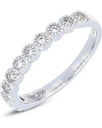 Bony Levy - 18k White Gold Bezel Set Diamond Scalloped Band Ring - 0.11 Ctw - Lyst