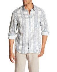 Benson - Geo Print Linen Modern Fit Shirt - Lyst