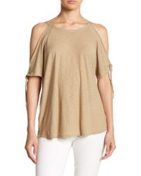 Michelle By Comune - Tie Sleeve Cold Shoudler Blouse - Lyst