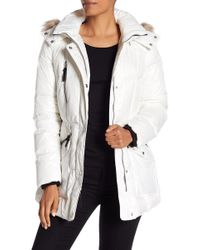 Andrew Marc - Lucy Faux Fur Trim Belted Down Jacket - Lyst