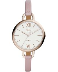 Fossil - Women's Round Pink Leather Strap Watch, 36mm - Lyst