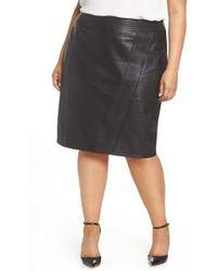 Sejour - Leather Pencil Skirt (plus Size) - Lyst