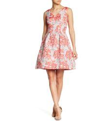 Donna Ricco - V-neck Brocade Dress - Lyst