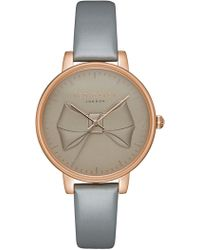 Ted Baker - Women's 3h Rose Gold Grey Strap Watch - Lyst
