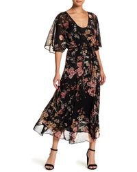 June & Hudson - Floral Chiffon Faux Wrap Maxi Dress - Lyst