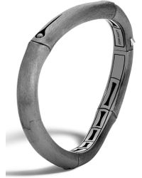 John Hardy - Bamboo Black Rhodium Plated Sterling Silver Curved Bangle - Lyst